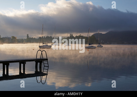 Boats on Woerthersee lake, Poertschach, Carinthia, Austria - Stock Photo