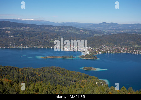 View from Pyramidenkogel to Woerthersee lake and Poertschach, Carinthia, Austria - Stock Photo