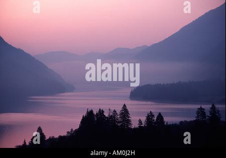 Morning mood at Lake Weissensee, Carinthia, Austria - Stock Photo