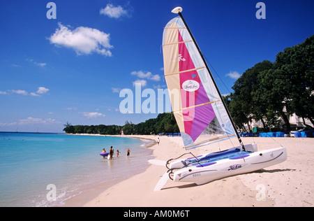 Barbados island, Saint James, beach of the Sandy Lane hotel - Stock Photo