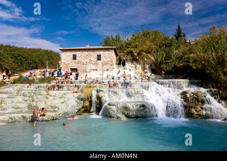 Thermal spring in Saturnia with sulphur-containing water of the Monte Amiata Manciano Toskana Italien - Stock Photo