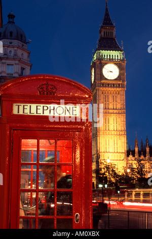 Red phone box with Big Ben, London, United Kingdom - Stock Photo