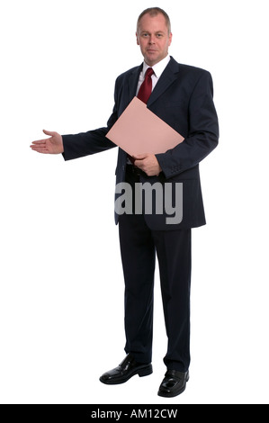 Businessman holding a document wallet with his arm out in a welcoming gesture - Stock Photo