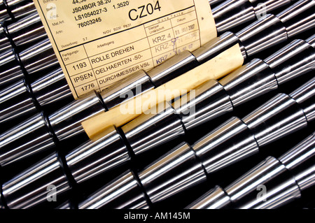Manufacturing of roller. Mechanical manufacturing - turning shop. - Stock Photo
