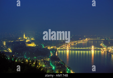 The Castle District and Chain Bridge over the River Danube Budapest Hungary - Stock Photo