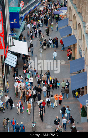 Pedestrians in the city centre of Cologne, Hohe Strasse, North Rhine-Westphalia, Germany - Stock Photo
