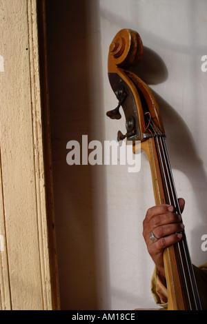 Cuban Musician Holding Stand Up Bass Havana Cuba - Stock Photo