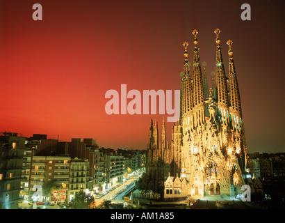 Temple of Sagrada Familia by Gaudi in Barcelona Catalonia Spain - Stock Photo