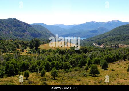 Landscape with Lago Lacar Nahuel Huapi National Park Near San Martin De Los Andes Patagonia Argentina - Stock Photo