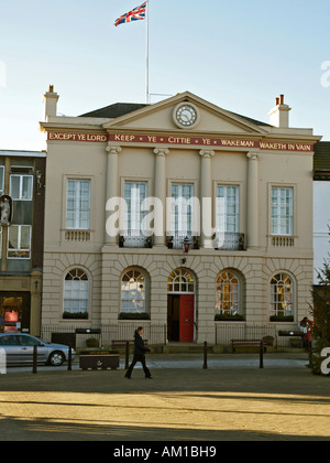Town Hall Ripon North Yorkshire in autumn morning light - Stock Photo