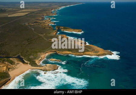 Great Ocean Road, helicopter flight over the cliffs and coastal landscape next to the Twelve Apostles, Southern - Stock Photo