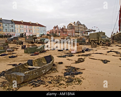 Seafront location set during the filming of Atonement a story based on the Dunkirk evacuation - Stock Photo