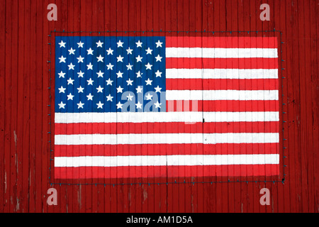 Red Barn With American Flag Near Gettysburg Pennsylvania - Stock Photo
