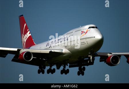 English Rose one of the Virgin Atlantic Airways Boeing 747 400 Jumbo Jet fleet landing at Gatwick - Stock Photo