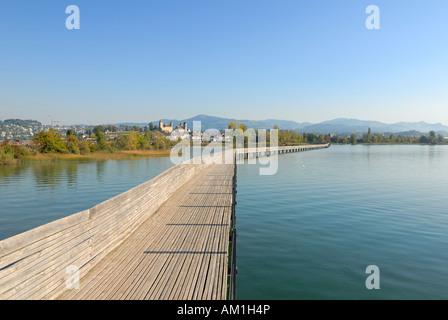 Rapperswil - wooden bridge over the lake zurich - canton of St. Gallen, Switzerland, Europe. - Stock Photo