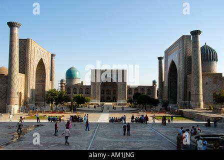Madrasah Ulugh Beg, Tilla-Kari and Sherdar Registan Samarkand Uzbekistan - Stock Photo
