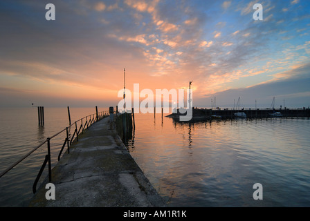 Meersburg - the harbour during the sunset - Baden Wuerttemberg, Germany Europe. - Stock Photo