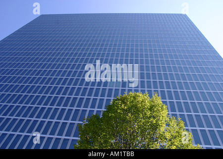 glass front high rise sky scraper Munich Highlight Towers Bavaria Germany - Stock Photo