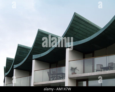 Nautilus building Contemporary apartments on the seafront at Westward Ho!  North Devon UK - Stock Photo