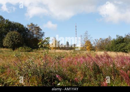 Transmitter mast on Heidelstein, Lange Rhoen, Franconia, Germany - Stock Photo