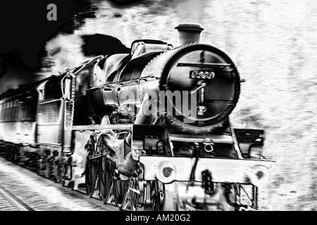 Jubilee Class 5690 ' Leander ' at speed. - Stock Photo