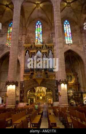 Organs in Le Seu cathedral dated in 14th century in Palma de Mallorca south coast of Mallorca Spain - Stock Photo