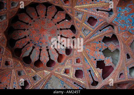Plaster ceiling of the music room in Ali Qapu palace ESFAHAN Iran - Stock Photo