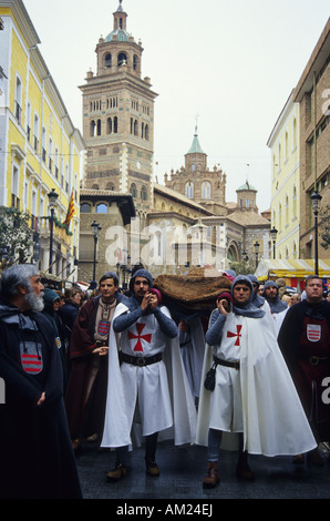Legend of Teruel lovers in the Cathedral MIDDLE AGES FESTIVAL in TERUEL Spain - Stock Photo