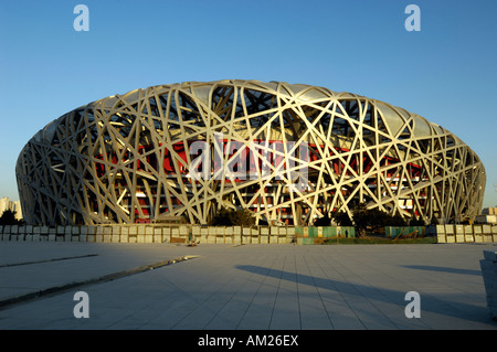 Construction site of the National Stadium known as the Bird Nest for 2008 Olympic Games 29-Nov-2007 - Stock Photo