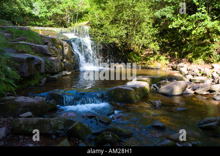 Waterfall on caerfanell blaen y glyn Talybont Brecon Beacons National Park Wales UK - Stock Photo