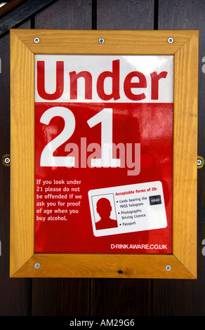 under 21 acceptable forms of id identification identity cards red white poster  drink aware vertical youth age under - Stock Photo