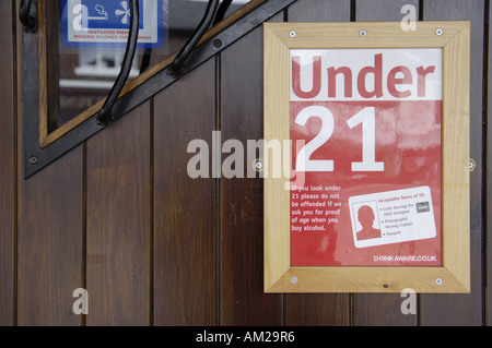 under 21 acceptable forms of id identification identity cards red white poster  drink aware vertical youth age underage - Stock Photo