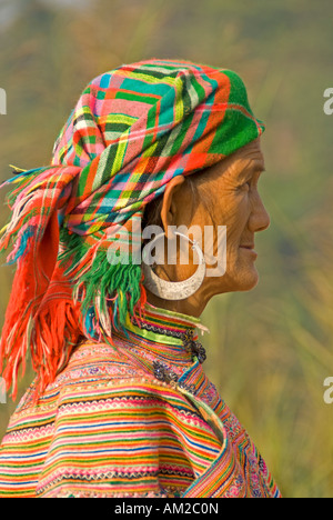 Profile of elderly Flower Hmong woman on road from Lao Cai to Bac Ha in northern Vietnam - Stock Photo