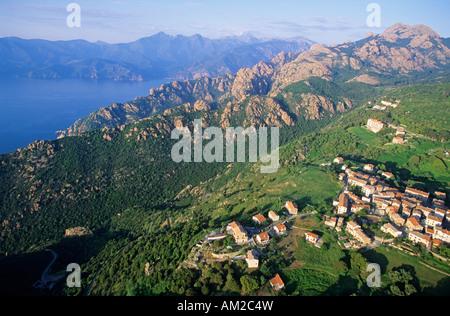 France, Corse du Sud, Golfe de Porto, Piana village (aerial view), labelled Les Plus Beaux Villages de France - Stock Photo