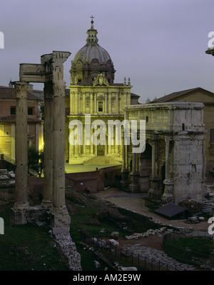 geography / travel, Italy, Rome, Roman Forum, church Santi Luca e Martina, Temple of Concord, Arch of Septimius - Stock Photo