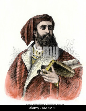Venetian explorer Marco Polo. Hand-colored woodcut - Stock Photo