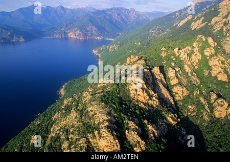 France, Corse du Sud, Golfe de Porto, Calanches of Piana village, labelled Les Plus Beaux Villages de France (aerial - Stock Photo
