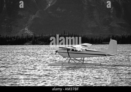 Float plane preparing for take off Lake Atlin Atlin British Columbia Canada  - Stock Photo