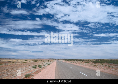 Stuart Highway south of Alice Springs Northern Territory Australia In the outback near Ayers Rock - Stock Photo