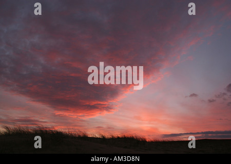 Red sky in the morning shepherds warning - Stock Photo