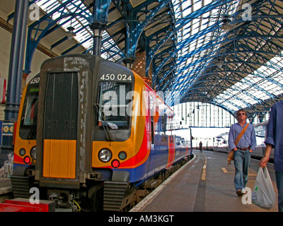 South West train Brighton Station East Sussex - Stock Photo