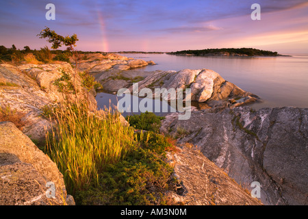 Sunset on Stora Nassa Skärgard Stockholm Archipelago Sweden - Stock Photo