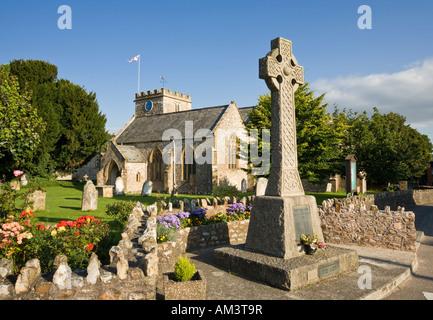 English village church of St Mary's and war memorial in Hemyock, Devon, England, UK - Stock Photo