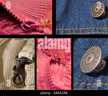 collage of close up of fabric zip and Button - Stock Photo