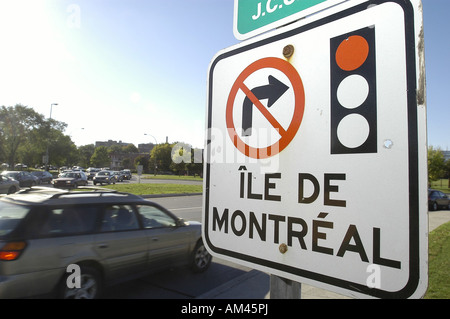 Traffic sign signaling No left Turn Montreal Quebec Canada - Stock Photo