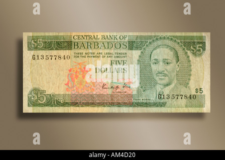 5 Dollar Bill From The Island Nation Barbados Stock P O
