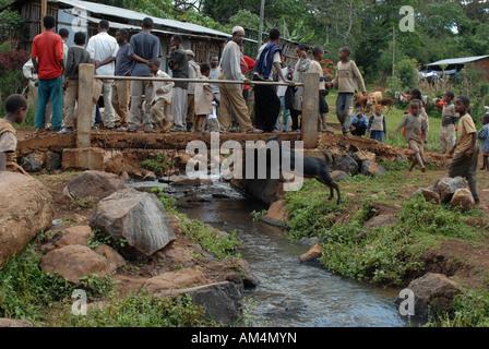 An Ethiopian bridge in Haro paid for with the Fairtrade coffee premium, Ethiopia - Stock Photo