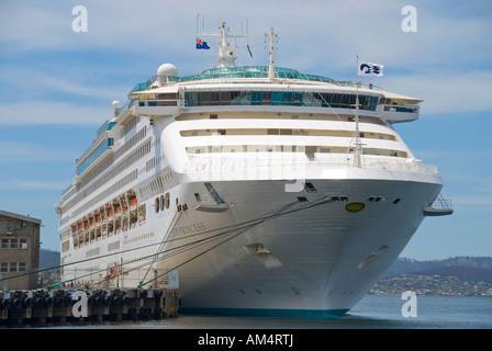 The luxury cruise liner Sun Princess at the docks in Hobart Tasmania Australia - Stock Photo