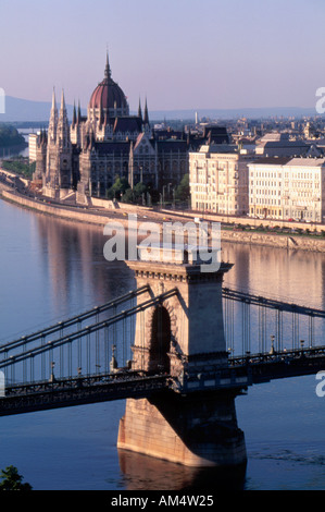 Chain Bridge Parliament Building and the Danube River Budapest Hungary - Stock Photo