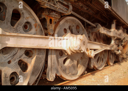 old antique steam train wheels - Stock Photo